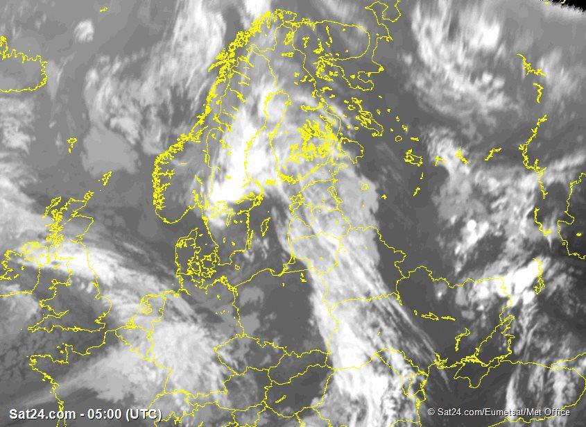 Meteosat - infračervené - Skandinávie