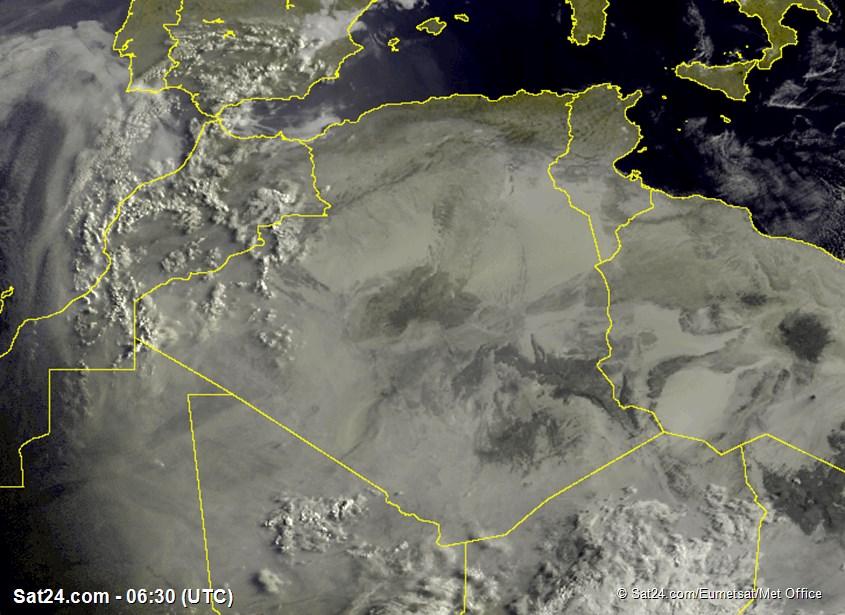 Meteosat - viditelné - Alžírsko - Tunisko